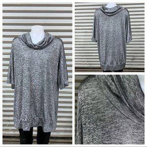 Avenue silver shimmery mock cowl sweater